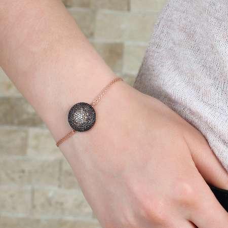 Siyah-Sarı Zirkon Taşlı Yassı Yuvarlak 925 Ayar Gümüş Bayan Bileklik - Thumbnail