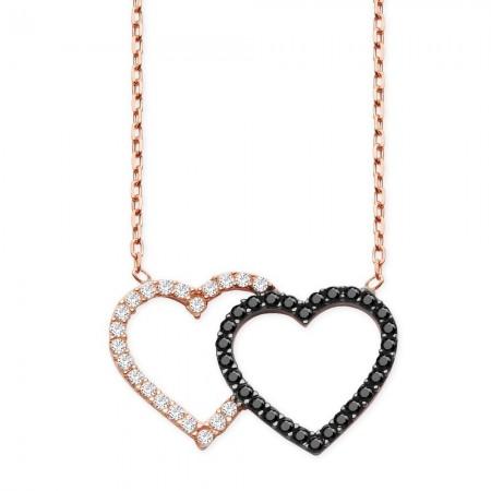 Tesbihane - 925 Ayar Gümüş Siyah ve Beyaz Zirkon Taşlı Kalpler Kolye