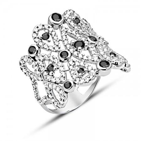 Tesbihane - 925 Ayar Gümüş Siyah ve Beyaz Zirkon Taşlı Rose Yüzük
