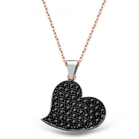- 925 Ayar Gümüş Siyah Zirkon Taşı İşlemeli Kalp Kolye