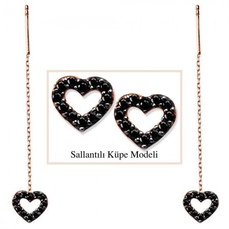 - 925 Ayar Gümüş Siyah Zirkon Taşlı Açık Kalp Model Japon Sallantılı Küpe