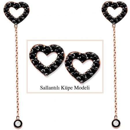 - 925 Ayar Gümüş Zirkon Taşlı Boş Kalp Model Japon Sallantılı Küpe