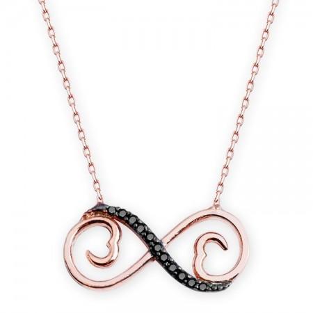 - 925 Ayar Gümüş Siyah Zirkon Taşlı Çİft Kalp Sonsuzluk Model Kolye