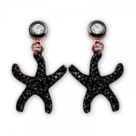 - 925 Ayar Gümüş Siyah Zirkon Taşlı Deniz Yıldızı Model Küpe