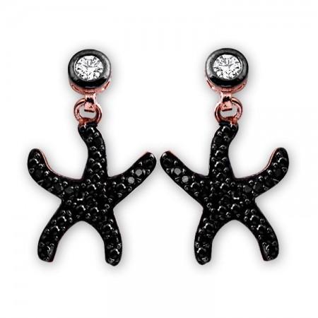 Tesbihane - 925 Ayar Gümüş Siyah Zirkon Taşlı Deniz Yıldızı Model Küpe