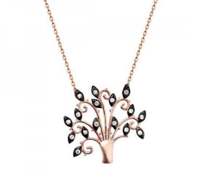 - 925 Ayar Gümüş Siyah Zirkon Taşlı Hayat Ağacı Kolye (model 2)