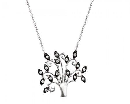 Tesbihane - 925 Ayar Gümüş Siyah Zirkon Taşlı Hayat Ağacı Kolye (model-3)