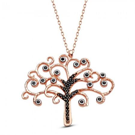 - 925 Ayar Gümüş Siyah Zirkon Taşlı Hayat Ağacı Kolye