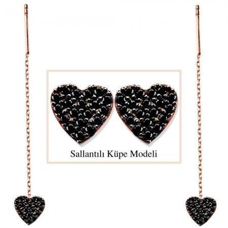Tesbihane - 925 Ayar Gümüş Siyah Zirkon Taşlı Kalp Model Japon Sallantılı Küpe