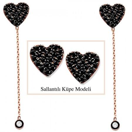 - 925 Ayar Gümüş Siyah Zirkon Taşlı Kalp Model Japon Sallantılı Küpe (SRD00205)