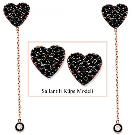 Tesbihane - 925 Ayar Gümüş Siyah Zirkon Taşlı Kalp Model Japon Sallantılı Küpe (SRD00205)