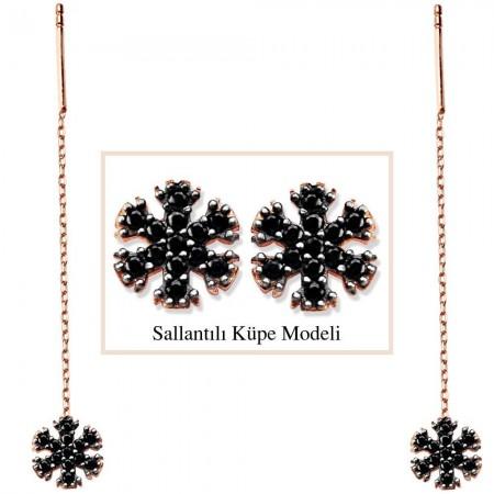 - 925 Ayar Gümüş Siyah Zirkon Taşlı Kar Model Japon Sallantılı Küpe
