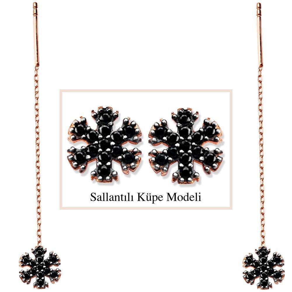 925 Ayar Gümüş Siyah Zirkon Taşlı Kar Model Japon Sallantılı Küpe