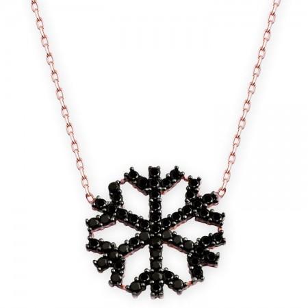 - 925 Ayar Gümüş Siyah Zirkon Taşlı Kar Tanesi Model Kolye