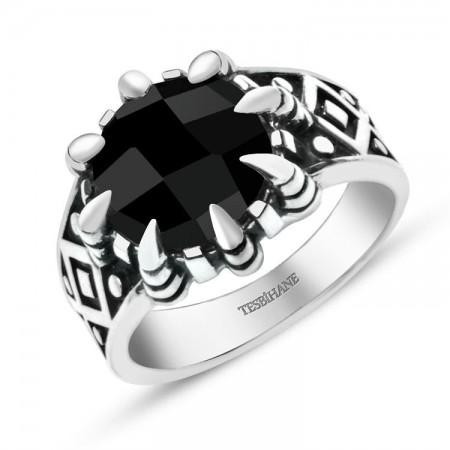 - 925 Ayar Gümüş Siyah Zirkon Taşlı Kartal Pençeli Yüzük