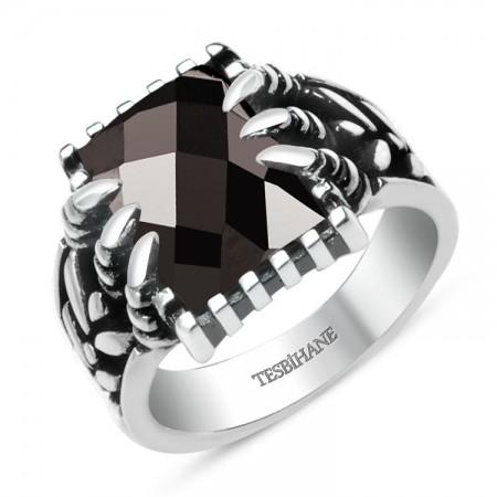 Tesbihane - 925 Ayar Gümüş Siyah Zirkon Taşlı Kartal Pençeli Yüzük