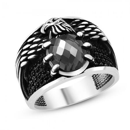 Tesbihane - 925 Ayar Gümüş Siyah Zirkon Taşlı Kartal Pençesi Yüzük