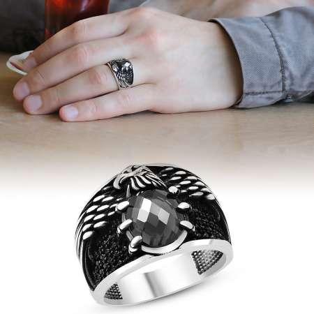 Tesbihane - Kartal Pençesi Tasarım Siyah Zirkon Taşlı 925 Ayar Gümüş Erkek Yüzük