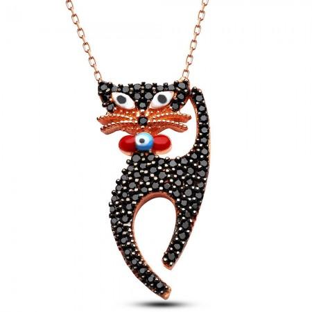 Tesbihane - 925 Ayar Gümüş Siyah Zirkon Taşlı Kedi Tasarım Kolye