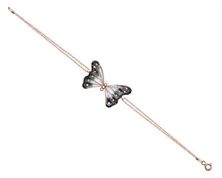 Tesbihane - 925 Ayar Gümüş Siyah Zirkon Taşlı Kelebek Bileklik