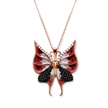 Tesbihane - 925 Ayar Gümüş Siyah Zirkon Taşlı Kelebek Kolye