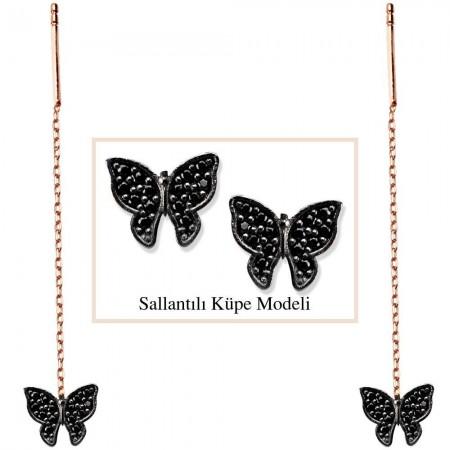 Tesbihane - 925 Ayar Gümüş Siyah Zirkon Taşlı Kelebek Model Japon Sallantılı Küpe (SRD00181)