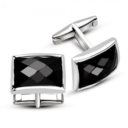 Tesbihane - 925 Ayar Gümüş Siyah Zirkon Taşlı Kol Düğmesi