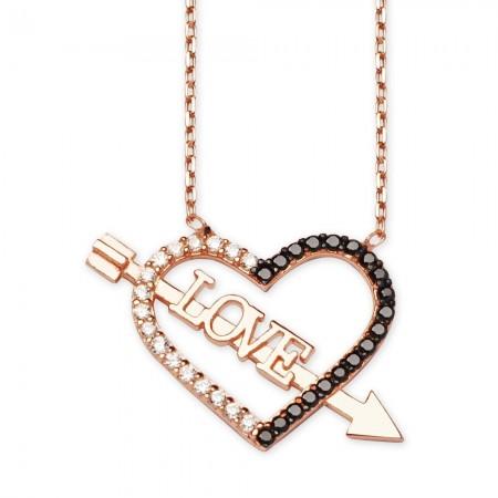 Tesbihane - 925 Ayar Gümüş Siyah Zirkon Taşlı Love Yazılı Kalp Kolye