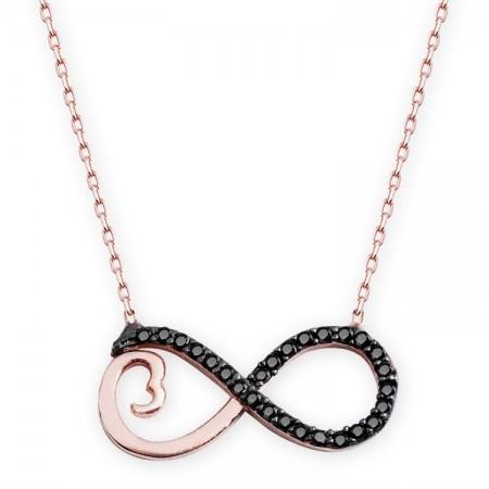 - 925 Ayar Gümüş Siyah Zirkon Taşlı Sonsuzluk Kalp Model Kolye