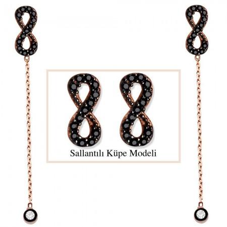 - 925 Ayar Gümüş Siyah Zirkon Taşlı Sonsuzluk Model Japon Sallantılı Küpe (SRD00209)