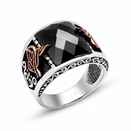 - 925 Ayar Gümüş Siyah Zirkon Taşlı Tuğra Model Yüzük