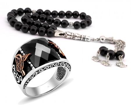 Tesbihane - Tuğra Motifli Zirkon Taşlı 925 Ayar Gümüş Yüzük ve Oniks Tesbih Kombini