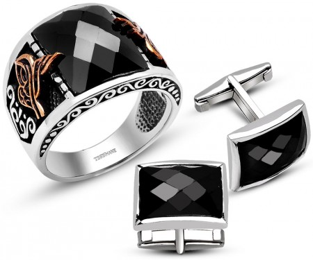 - 925 Ayar Gümüş Siyah Zirkon Taşlı Tuğralı Yüzük Kol Düğmesi Kombini