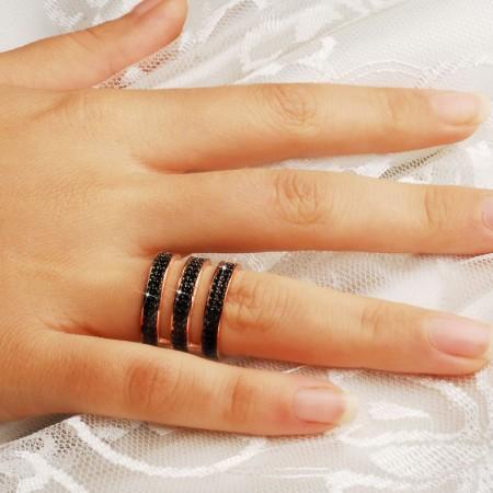Tesbihane - 925 Ayar Gümüş Siyah Zirkon Taşlı Üç Halka Yüzük