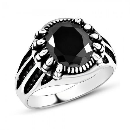 Tesbihane - 925 Ayar Gümüş Siyah Zirkon Taşlı ve Pençe Desenli Yüzük (Model-3)