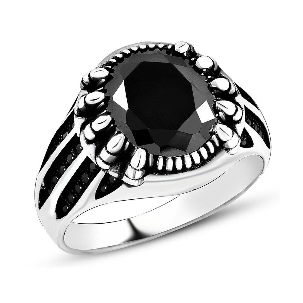 Pençe Tasarım Siyah Zirkon Taşlı 925 Ayar Gümüş Erkek Yüzük