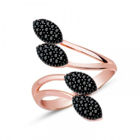 - 925 Ayar Gümüş Siyah Zirkon Taşlı Yaprak Tasarım Rose Yüzük