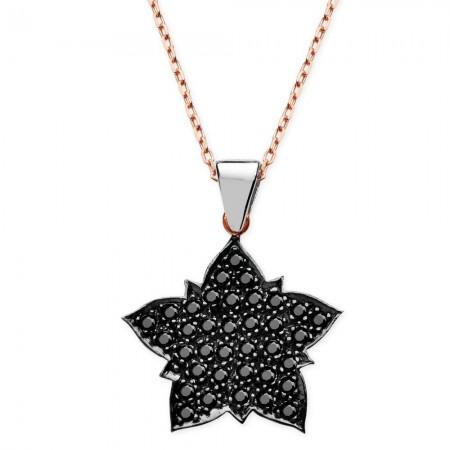 Tesbihane - 925 Ayar Gümüş Siyah Zirkon Taşlı Yıldız Kolye
