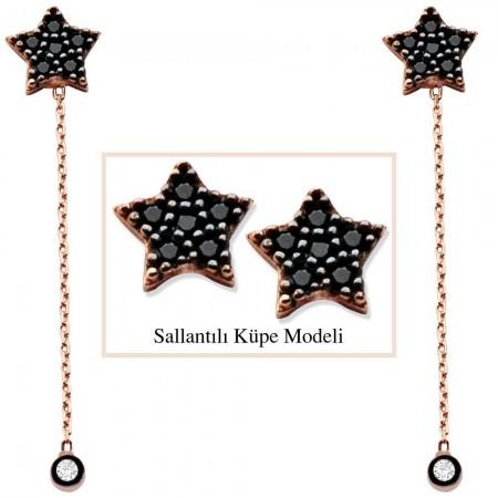 Tesbihane - 925 Ayar Gümüş Siyah Zirkon Taşlı Yıldız Model Japon Sallantılı Küpe (SRD00203)