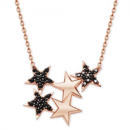 Tesbihane - 925 Ayar Gümüş Siyah Zirkon Taşlı Yıldızlar Kolye