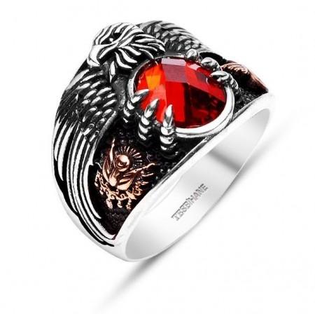 Tesbihane - 925 Ayar Gümüş Son İmparator Yüzüğü (Kırmızı Taşlı)