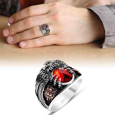 Tesbihane - Kırmızı Zirkon Taşlı 925 Ayar Gümüş Son İmparator Yüzüğü