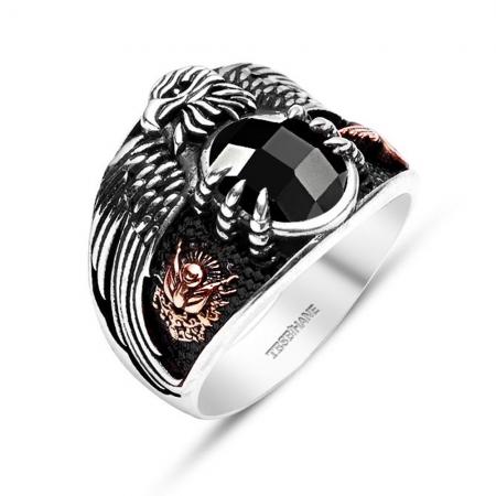 Tesbihane - 925 Ayar Gümüş Son İmparator Yüzüğü (Siyah Taşlı)