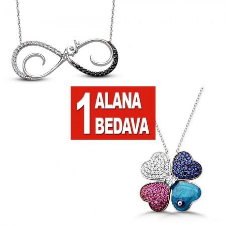 - 925 Ayar Gümüş Sonsuz Aşk ve Kırçiçeği Kolye