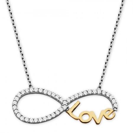 - 925 Ayar Gümüş Sonsuz Love Kolye (Model-2)