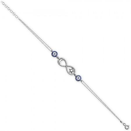 - 925 Ayar Gümüş Sonsuzluk Ay ve Yıldız Tasarım Bileklik