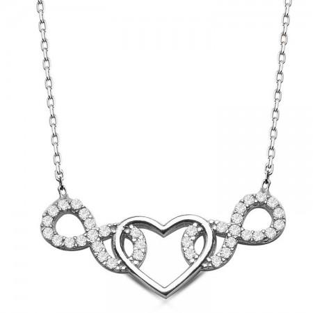- 925 Ayar Gümüş Sonsuzluk Kalp Model Kolye
