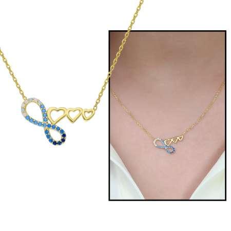 Tesbihane - Zirkon Taşlı Üç Kalp Sonsuzluk Tasarım 925 Ayar Gümüş Bayan Kolye