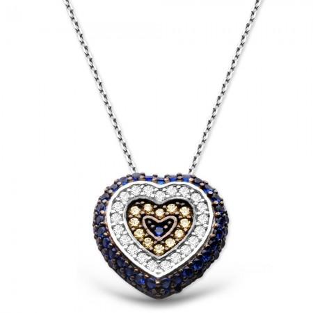 - 925 Ayar Gümüş Sosyete Gözü Kolye Kalp Model