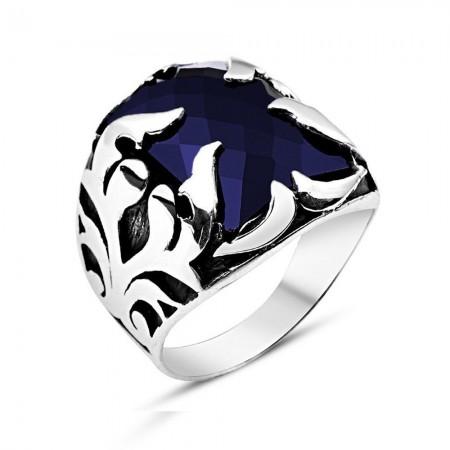 Tesbihane - Lacivert Zirkon Taşlı 925 Ayar Gümüş Şövalye Yüzüğü